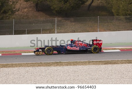 BARCELONA - MARCH 3: Daniel Ricciardo of STR F1 team racing during Formula One Teams Test Days at Catalunya circuit on March 3, 2012 in Barcelona, Spain.