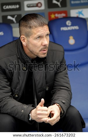 BARCELONA - MARCH, 14: Diego Simeone manager of Atletico Madrid during a Spanish League match against RCD Espanyol at the Estadi Cornella on March 14, 2015 in Barcelona, Spain - stock photo