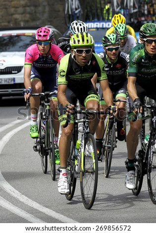 BARCELONA - MARCH, 29: Janier Acevedo of Garmin Cannondale Team rides during the Tour of Catalonia cycling race through the streets of Monjuich mountain in Barcelona on March 29, 2015 - stock photo