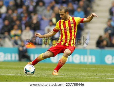 BARCELONA - MARCH, 29: Javier Mascherano of FC Barcelona during the Spanish League match between Espanyol and FC Barcelona at the Estadi Cornella on March 29, 2014 in Barcelona, Spain - stock photo