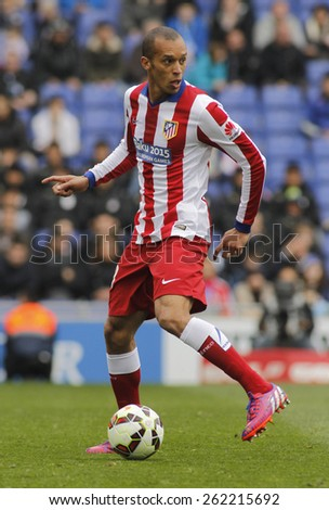 BARCELONA - MARCH, 14: Joao Miranda of Atletico Madrid during a Spanish League match against RCD Espanyol at the Estadi Cornella on March 14, 2015 in Barcelona, Spain - stock photo