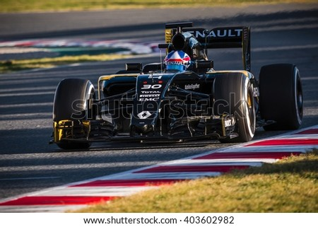 BARCELONA - MARCH 3: Jolyon Palmer of Renault F1 Team at Formula One Test Days at Catalunya circuit on March 3, 2016 in Barcelona, Spain. - stock photo
