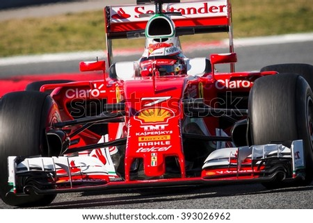 BARCELONA - MARCH 1: Kimi Raikkonen of Ferrari F1 Team at Formula One Test Days at Catalunya circuit on March 1, 2016 in Barcelona, Spain. - stock photo