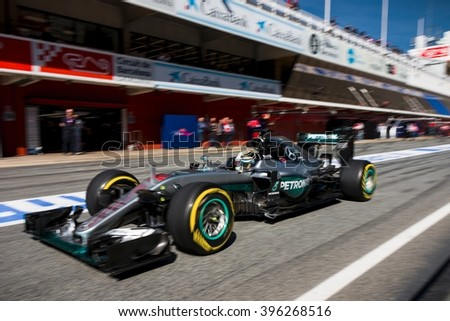 BARCELONA - MARCH 2: Lewis Hamilton of Mercedes AMG F1 Team at Formula One Test Days at Catalunya circuit on March 2, 2016 in Barcelona, Spain. - stock photo