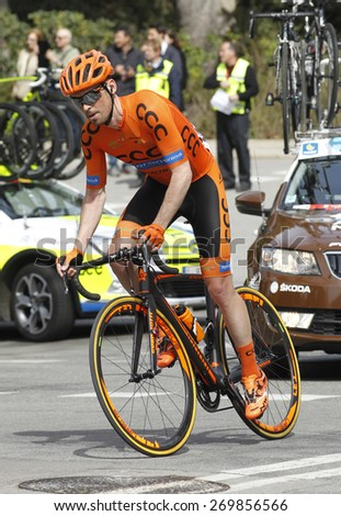 BARCELONA - MARCH 29: Marek Rutkiewicz of CCC-Polsat-Polkowice Team rides during the Tour of Catalonia cycling race through the streets of Monjuich mountain in Barcelona on March 29, 2015 - stock photo