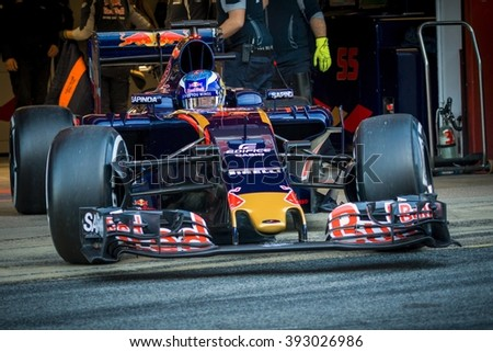 BARCELONA - MARCH 1: Max Verstappen of Toro Rosso F1 Team at Formula One Test Days at Catalunya circuit on March 1, 2016 in Barcelona, Spain. - stock photo