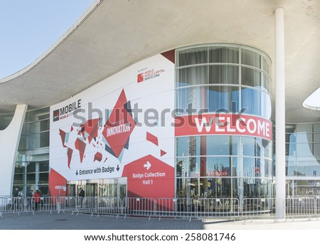 BARCELONA - MARCH 05: outdoor entrance of Mobile World Congress 2015 on March 05, 2015, Barcelona, Spain.  - stock photo