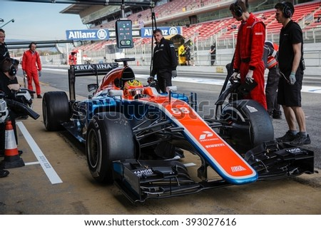 BARCELONA - MARCH 1: Rio Haryanto of Manor F1 Team at Formula One Test Days at Catalunya circuit on March 1, 2016 in Barcelona, Spain. - stock photo