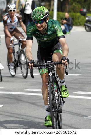 BARCELONA - MARCH, 29: Romain Sicard of Europcar Team rides during the Tour of Catalonia cycling race through the streets of Monjuich mountain in Barcelona on March 29, 2015 - stock photo