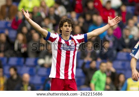 BARCELONA - MARCH, 14: Tiago Mendes of Atletico Madrid during a Spanish League match against RCD Espanyol at the Estadi Cornella on March 14, 2015 in Barcelona, Spain - stock photo