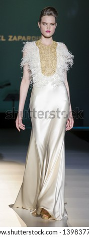 BARCELONA - MAY 02: A model walks on the Isabel Zapardiez catwalk during the Barcelona Bridal Week runway on May 02, 2013 in Barcelona, Spain. - stock photo