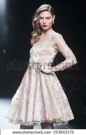 BARCELONA - MAY 07: a model walks on the Sonia Pena bridal collection 2016 catwalk during the Barcelona Bridal Week runway on May 07, 2015 in Barcelona, Spain.  - stock photo