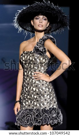 BARCELONA - MAY 11: A model walks on the Sonia Pena catwalk during the Barcelona Bridal Week runway on May 11, 2012 in Barcelona, Spain. - stock photo