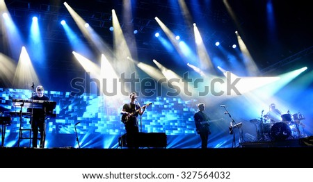 BARCELONA - MAY 29: Alt-J (indie alternative band) in concert at Primavera Sound 2015 Festival on May 29, 2015 in Barcelona, Spain.