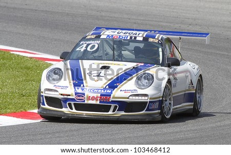 BARCELONA - MAY 12: Angelo Proietti of Antonelli Motorsport team racing at Qualifying session of Porsche Mobil 1 Supercup at Catalunya circuit, on May 12, 2012 in Barcelona, Spain.