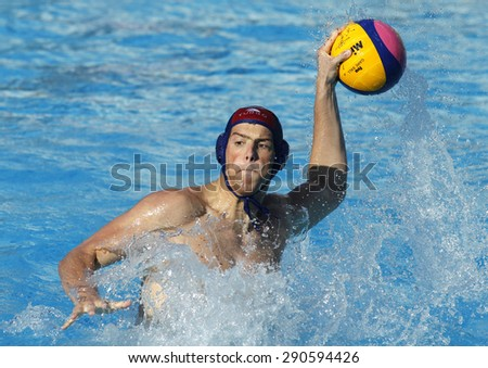 BARCELONA - MAY, 28: Ante Viskovic of Vaterpolski klub Jug Dubrovnik during a LEN Champions League Final Six match against ZF Eger at the Picornell Swimming pool on May 28 2015 in Barcelona Spain - stock photo