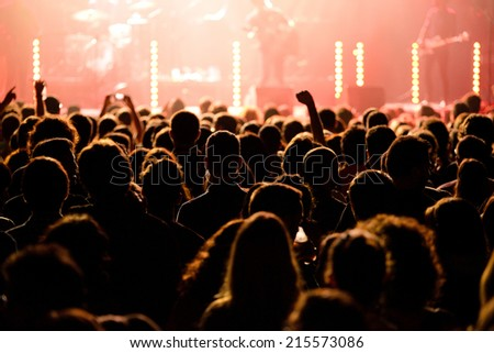 BARCELONA - MAY 16: Audience in a concert at Razzmatazz discotheque on May 16, 2014 in Barcelona, Spain. - stock photo
