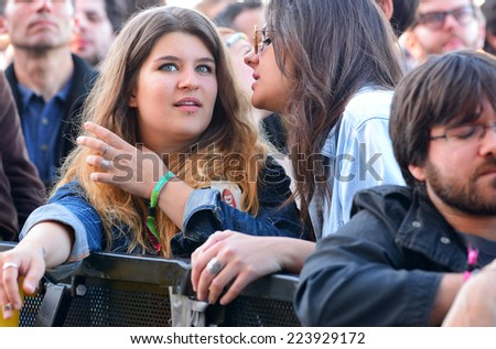 BARCELONA - MAY 30: Audience watch a concert at Heineken Primavera Sound 2014 Festival (PS14) on May 30, 2014 in Barcelona, Spain.