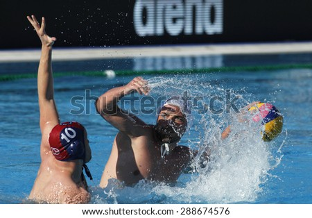 BARCELONA - MAY, 29: Boris Vapensky of ZF Eger during a LEN Champions League Final Six match against Szolnoki VSK at the Picornell Swimming pool on May 29 2015 in Barcelona Spain - stock photo