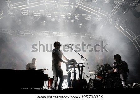 BARCELONA - MAY 30: Caribou (electronic music band) live performance at Primavera Sound 2015 Festival on May 30, 2015 in Barcelona, Spain. - stock photo