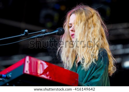 BARCELONA - MAY 27: Christina Rosenvinge (singer and songwriter) in concert at Primavera Sound 2015 Festival, ATP stage, on May 27, 2015 in Barcelona, Spain. - stock photo
