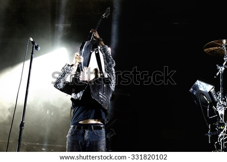 BARCELONA - MAY 30: Chromeo (Canadian electro-funk duo) performs at Heineken Primavera Sound 2014 Festival (PS14) on May 30, 2014 in Barcelona, Spain. - stock photo