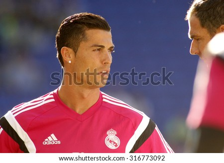 BARCELONA - MAY, 17: Cristiano Ronaldo of Real Madrid before a Spanish League match against RCD Espanyol at the Power8 stadium on Maig 17 2015 in Barcelona Spain - stock photo