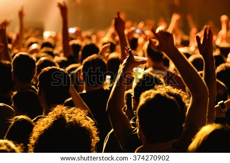 BARCELONA - MAY 16: Crowd in a concert at Razzmatazz stage on May 16, 2014 in Barcelona, Spain. - stock photo