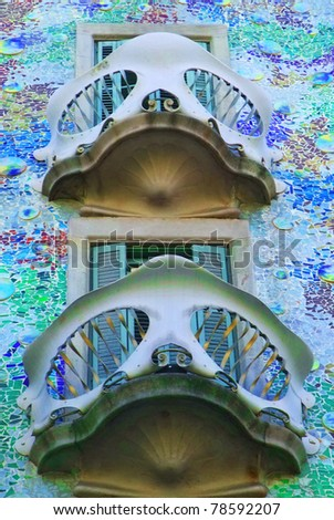 BARCELONA - MAY 15: Detail of Casa Batllò on May 15, 2011 in Barcelona. Casa Batllò is a modernist building originally designed for a middle-class family, located at 43 Passeig de Gràcia in Barcelona