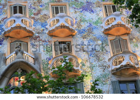 BARCELONA-MAY 30:Detail of Casa Batllo at dusk on May 30, 2012, Barcelona, Spain.Casa Batllo is a key feature in the architecture of modernist Barcelona and was built by Antoni Gaudi between 1904-1906 - stock photo