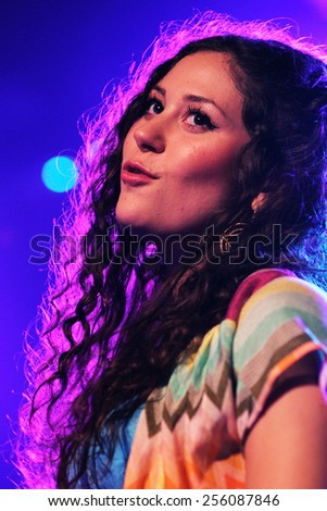 BARCELONA - MAY 9: Eliza Doolittle band performs at Music Hall on May 9, 2011 in Barcelona, Spain. - stock photo