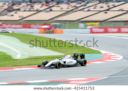 BARCELONA - MAY 13: Felipe Massa drives the Williams Martini Racing car on track for the Spanish Formula One Grand Prix at Circuit de Catalunya on May 13, 2016 in Barcelona, Spain.