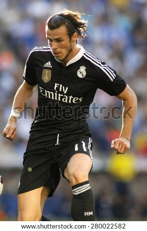 BARCELONA - MAY, 17: Gareth Bale of Real Madrid of during a Spanish League match against RCD Espanyol at the Power8 stadium on Maig 17 2015 in Barcelona Spain - stock photo