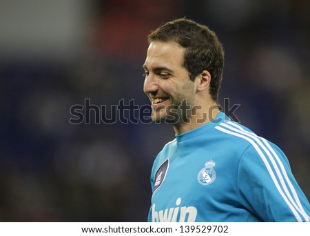 BARCELONA - MAY, 11: Gonzalo Higuain of Real Madrid before the Spanish League match between Espanyol and Real Madrid at the Estadi Cornella on May 11, 2013 in Barcelona, Spain