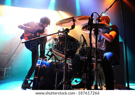 BARCELONA - MAY 31: Japandroids band performs at San Miguel Primavera Sound Festival on May 31, 2012 in Barcelona, Spain. - stock photo