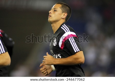 BARCELONA - MAY,11: Javier Chicharito Hernandez of Real Madrid before the Spanish Kings Cup match against UE Cornella at the Estadi Cornella on May 11, 2014 in Barcelona, Spain - stock photo