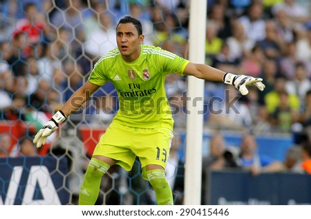 BARCELONA - MAY 17: Keylor Navas of Real Madrid in action during a Spanish League match against RCD Espanyol at the Power8 stadium on May 17 2015 in Barcelona, Spain - stock photo