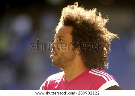 BARCELONA - MAY, 17: Marcelo Vieira of Real Madrid before a Spanish League match against RCD Espanyol at the Power8 stadium on Maig 17 2015 in Barcelona Spain - stock photo
