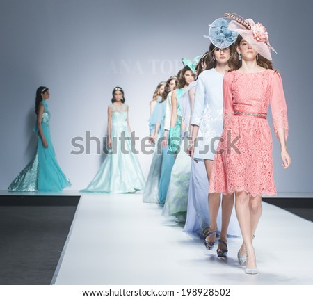BARCELONA - MAY 08: models walking on the Ana Torres bridal collection 2015 catwalk during the Barcelona Bridal Week runway on May 08, 2014 in Barcelona, Spain.  - stock photo