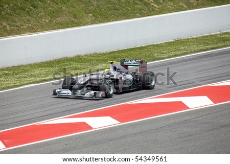 "BARCELONA- MAY 9: Nico Rosberg  of  Mercedes GP   in action during The Formula 1 Grand Prix at autodrome ""Catalunya Montmello"" on May 9, 2010 in Barcelona. Rosberg   finished 13 - stock photo"