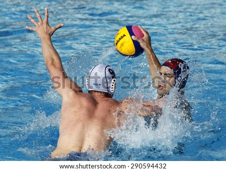 BARCELONA - MAY, 28: Pavo Markovic of Vaterpolski klub Jug Dubrovnik during a LEN Champions League Final Six match against ZF Eger at the Picornell Swimming pool on May 28 2015 in Barcelona Spain - stock photo