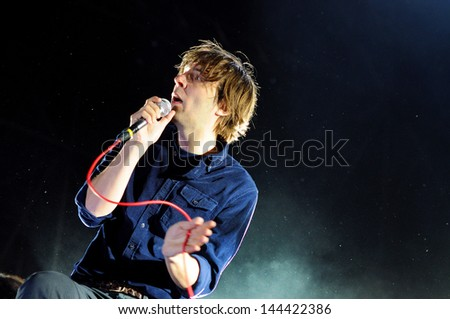 BARCELONA - MAY 23: Phoenix, rock band from Versailles (France), performs at Heineken Primavera Sound 2013 Festival on May 23, 2013 in Barcelona, Spain. - stock photo