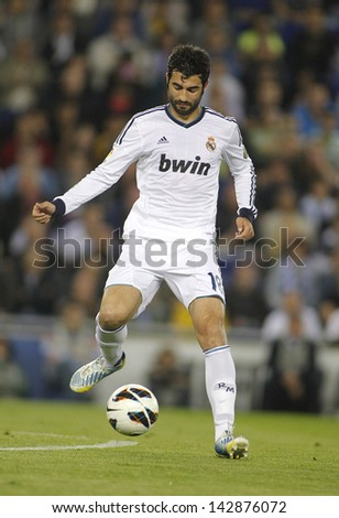 BARCELONA - MAY, 11: Raul Albiol of Real Madrid during the Spanish League match between Espanyol and Real Madrid at the Estadi Cornella on May 11, 2013 in Barcelona, Spain