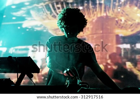 BARCELONA - MAY 26: The electronic player of Boreals (Spanish electronic band) performs at Apolo stage Primavera Sound 2015 Festival (PS15) on May 26, 2015 in Barcelona, Spain. - stock photo