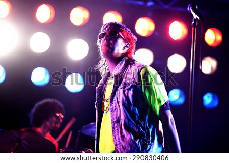 BARCELONA - MAY 30: The Strokes (band) performs at Primavera Sound 2015 Festival on May 30, 2015 in Barcelona, Spain. - stock photo