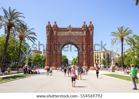 BARCELONA - MAY 21, 2016: Tourists at the Arc de Triomf Parc in Barcelona, Spain