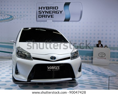 BARCELONA - MAY 18: Toyota Yaris HSD Concept at the 36th International Motor Show in Barcelona on May 18, 2011. - stock photo