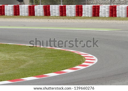 BARCELONA - MAY 12:  View of a curve of Circuit the Catalunya during Free Test Days, on May 12, 2012, in Barcelona, Spain. - stock photo