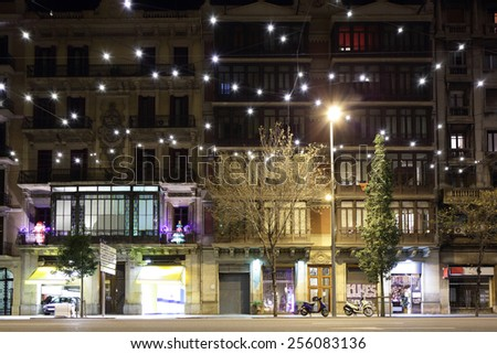 barcelona night light traffic street with decoration spain