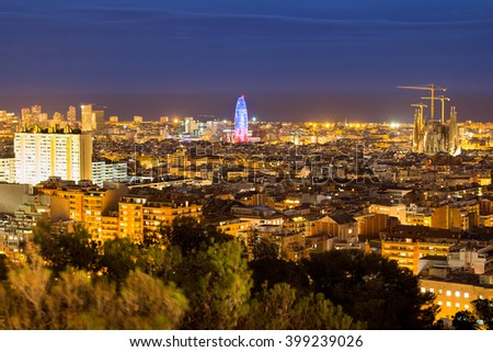 Barcelona night panoramic view, Spain